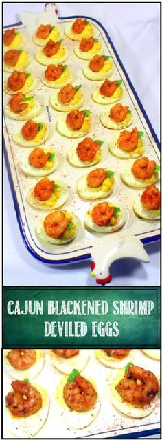 Cajun Blackened Shrimp Deviled Eggs... OH BOY DEVILED EGGS..  And these are certainly dressed to impress for any gathering, potluck or just to serve something AMAZING!  New Orleans Cajun spiced shrimp top a smooth creamy cheesey mustard based deviled egg.  Stunning presentation to go with the over the top flavor mix.