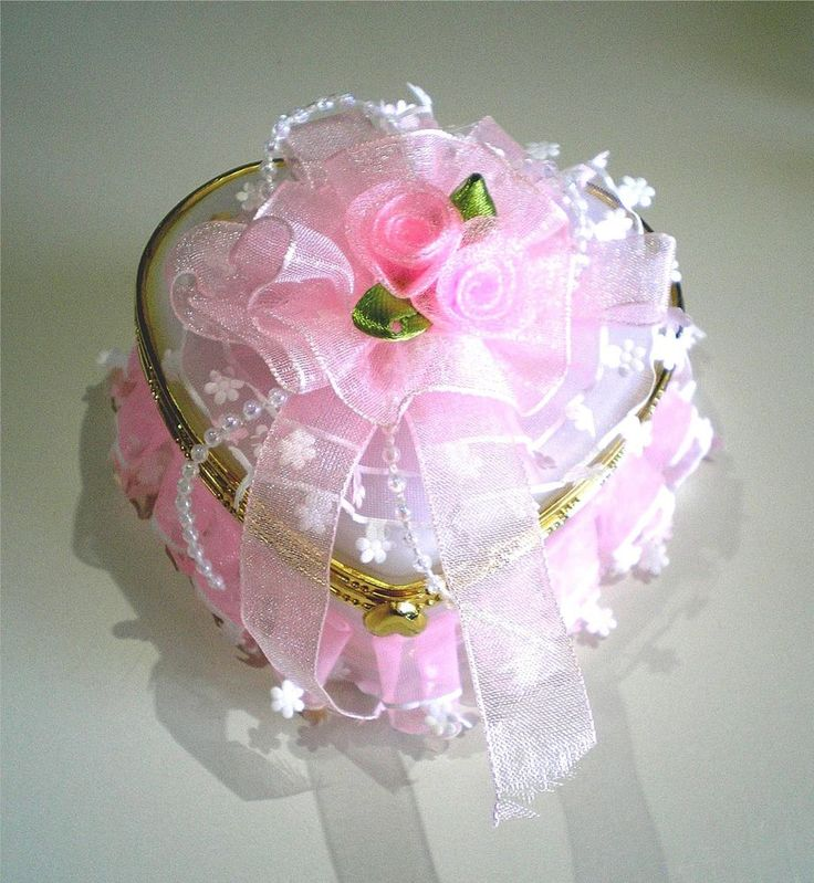 Laced Rose Heart Mirrored Gift Box for Wedding Jewelry - Ring Earring Necklace