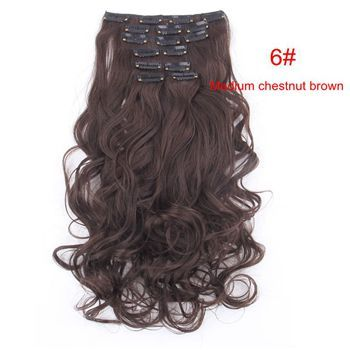 Specs: Model: 999 Length:50cm 20inch Stretched length: 60cm 24inch Material:100% Korea High Quality Synthetic Heat-Resisting Fibre, can curl or straight at 100-150 degree A set of 7 Pieces: 1 pcs - 8 inch piece ( for the back of the head ) with 4 clips 2 pcs - 5 inch pieces ( for the back of the head ) with 3 clips 2 pcs - 3 inch pieces ( for the sides of the head ) with 2 clips 2 pcs - 1.5 inch pieces ( for the sides of the head ) with 1 clip