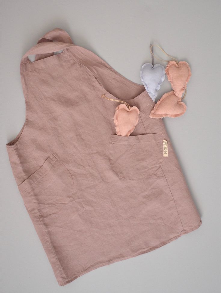 Children's 100% stonewashed French linen apron in Rosewood colour