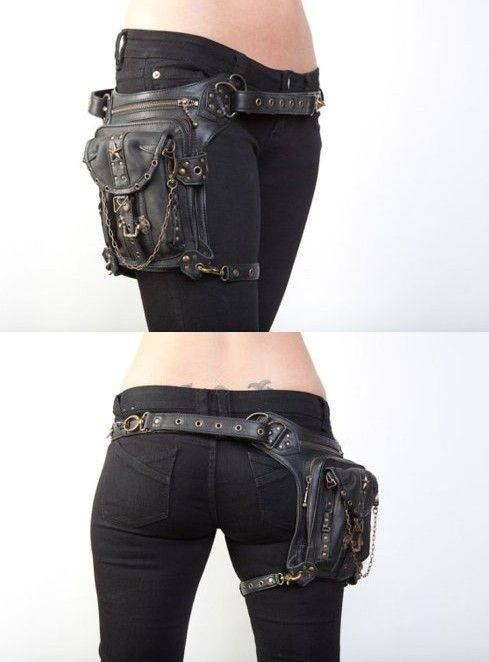 This is the most badass fanny pack I've ever seen. It's a great Steampunk style for storing weapons.
