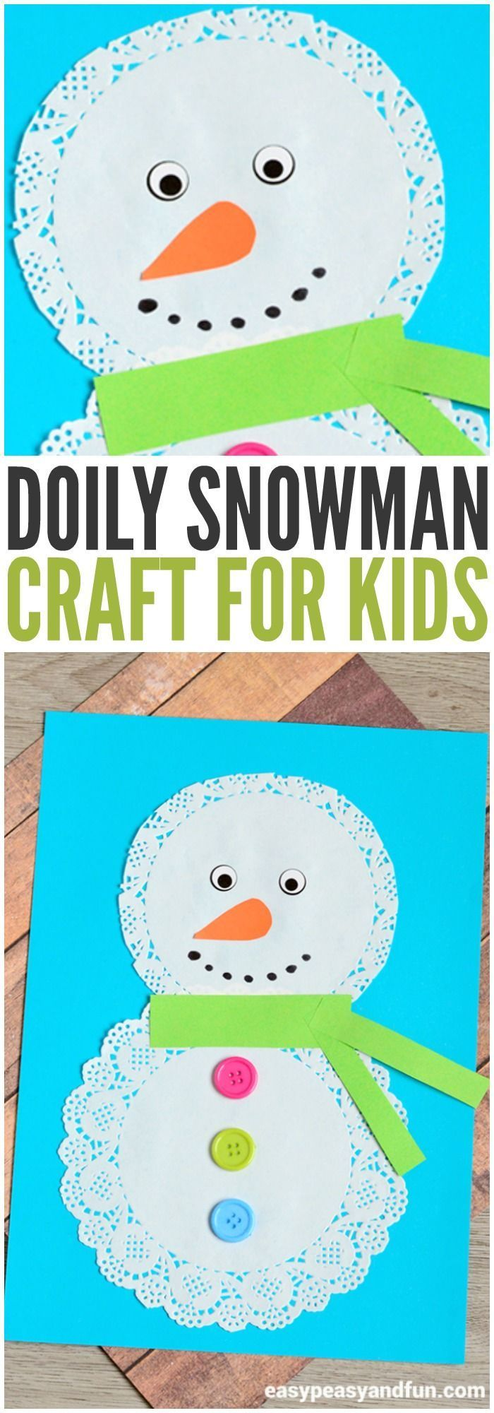 Adorable snowman craft to make from a doily! Perfect winter craft for preschoolers!