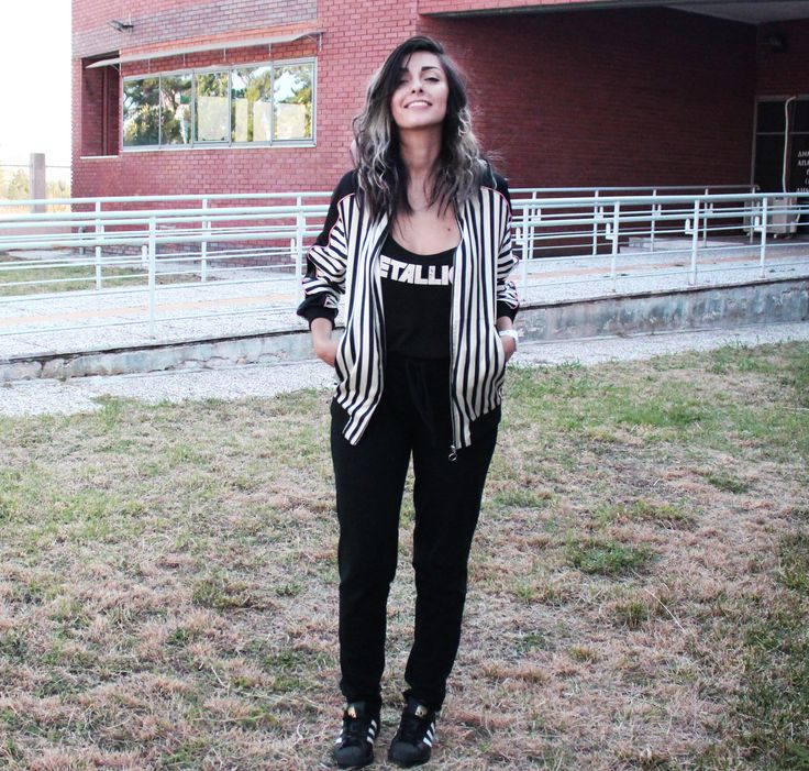#grey #obre #hair #backtoschool #outfit #look #casual #everyday #stripes #bomber #jacket #sporty #leggings #sports #pants #sportswear #adidas #superstar #sneakers
