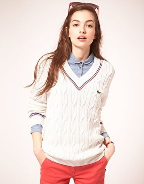 Love the preppy/boyish cricket jumper look. Pricy though: Lacoste Live Cricket Jumper €145.04