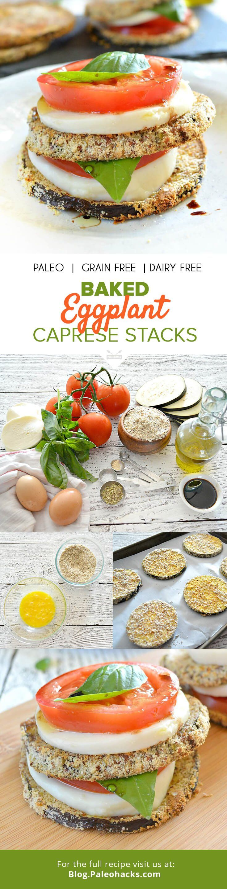 These baked eggplant Caprese stacks make for a stunning appetizer or side dish. Instead of frying in oil, eggplant slices are coated in almond meal and baked to crispy perfection. For the full recipe, visit us here: http://paleo.co/capresestacks