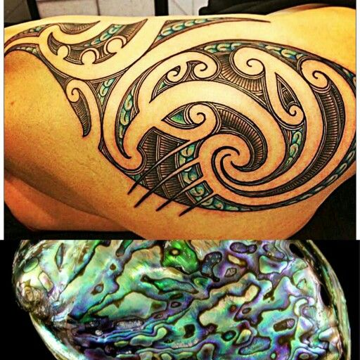 Tattoo that mimics the iridescent inside of the abalone shell!! Those colors!!