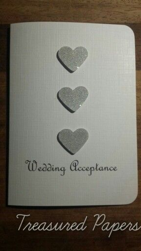 3 simple hearts wedding acceptance card Made by Treasured Papers