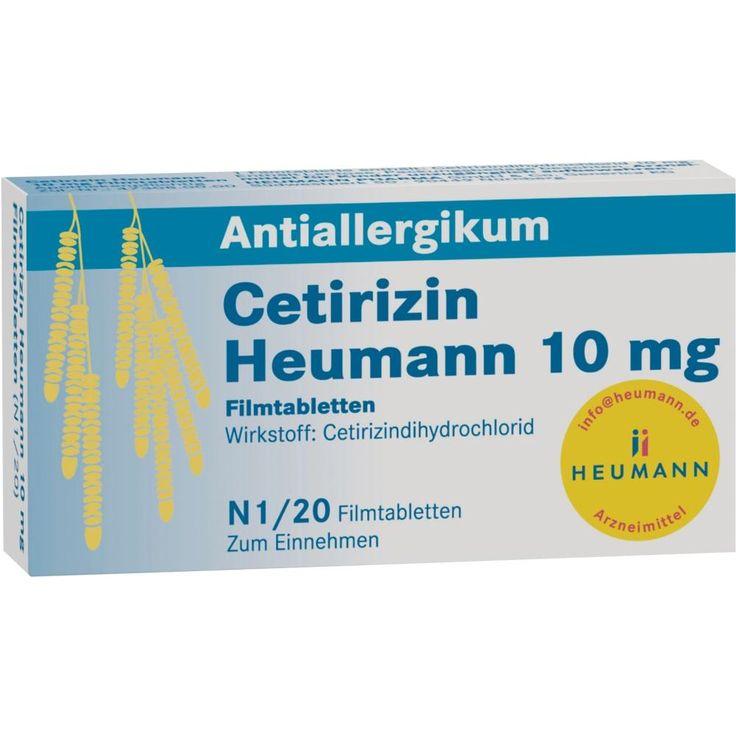 CETIRIZIN Heumann 10 mg Filmtabletten:   Packungsinhalt: 20 St Filmtabletten PZN: 02075309 Hersteller: HEUMANN PHARMA GmbH & Co. Generica…