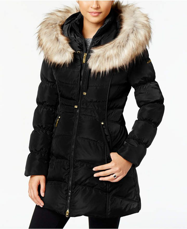 Laundry By Shelli Segal Faux Fur Trim Hooded Puffer Coat Segal