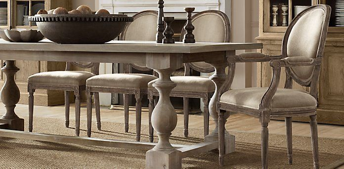 Vintage French Round Restoration Hardware Dining Room