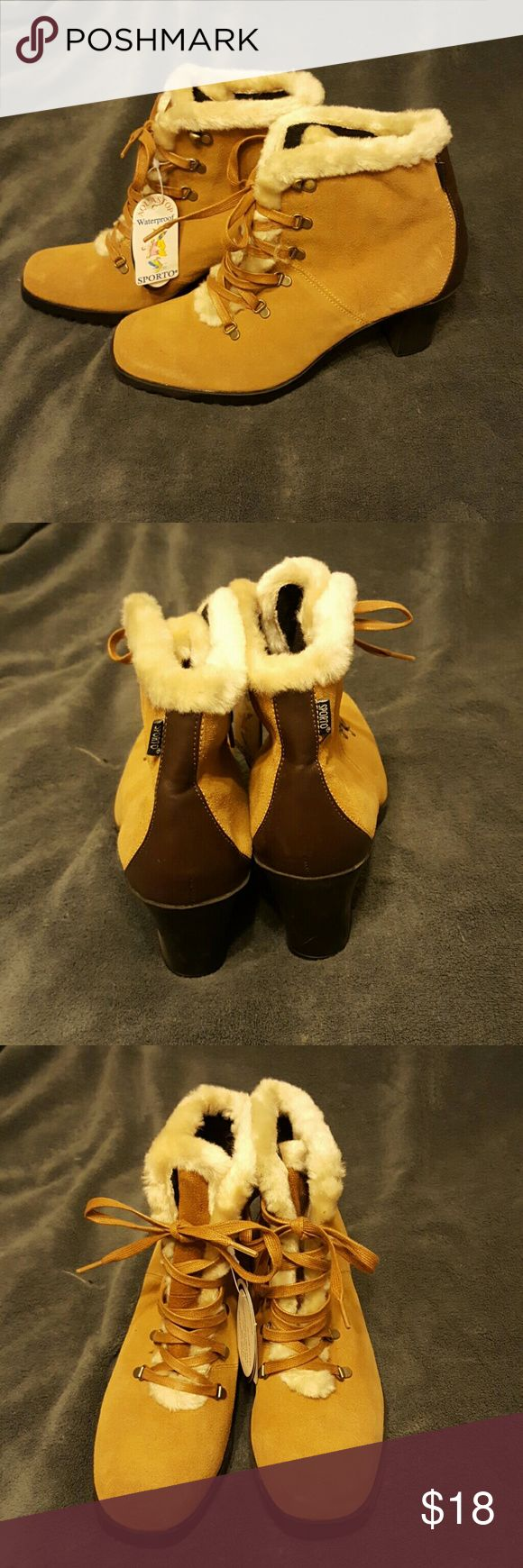 "Sporto boots, faux fur. Waterproof with Scotchgard NWT Sporto waterproof boots. Only thing ""wrong"" with them is where TJ Maxx wrote with a marker on the bottom and it smeared (as pictured) Sporto Shoes Ankle Boots & Booties"