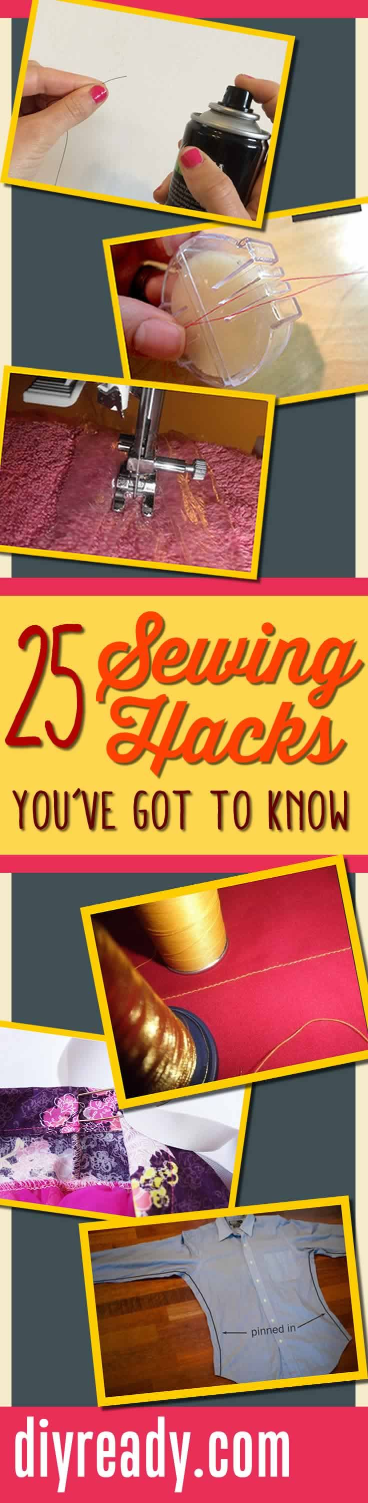 25 Best Sewing Hacks and Sewing Tips: After sewing for years I've naturally acquired a handful of tips and tricks. I've gathered together 25 of my favorites just for you. Read on for some of the best sewing hacks out there, and you'll be master of the machine in no time. Don't miss out on this awesome list of sewing hacks you'll want to try at home. I've seen tons of sewing tips, but none that were as simple and as straightforward as this one. You're going to be sewing like a pro a