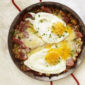 Heb je zin in een stevig ontbijt, ga dan voor deze aardappel-rösti. De combinatie van ei, kaas en ham is een klassieker en doet het erg goed in dit gerecht! 1 Rasp de aardappels grof enknijp het vocht eruit. Doe derasp in een kom, voeg...
