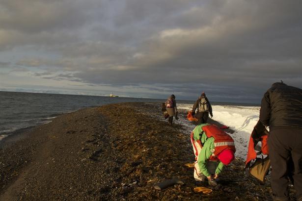 La expedición de Greenpece recolecta basura en la isla de Moffen. Foto:/Daniel Bravo