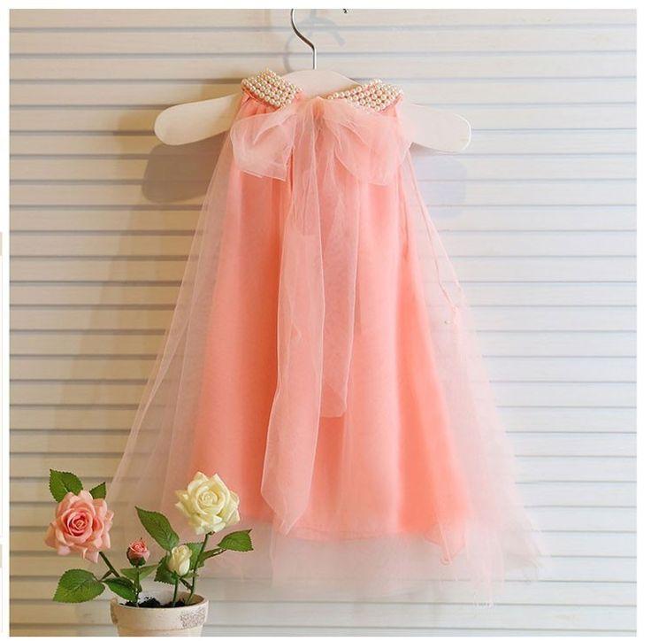 Детская платье мода девочки чистый цвет жемчужный воротник платья пачка платье принцессы девушки летний стиль для детская одежда купить на AliExpress
