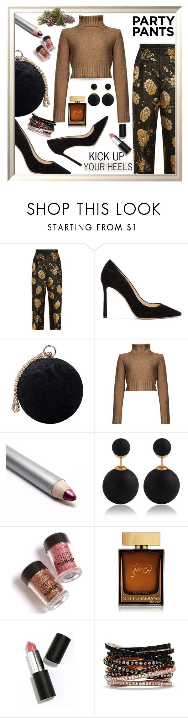 """""""Kick up your heels! #PolyPresents Party Pants"""" by queenofsienna ❤ liked on Polyvore featuring Dolce&Gabbana, Jimmy Choo, Carvela, D&G, Sigma, Effy Jewelry, contestentry, polyPresents and partypants"""