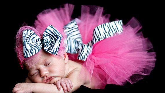 Zèbre chaud Tutu rose avec Boutique Style Bow sur un Crochet bandeau nouveau-né-2 t photographie nouveau-né Prop sur Etsy, 22,56€