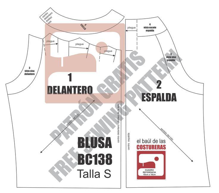 Patrón de costura gratis para imprimir en casa e instrucciones de confección Blusa cuello halter