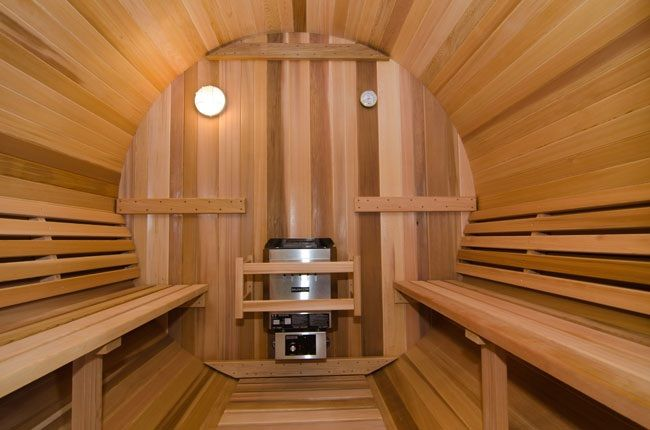 A barrel shaped sauna from the Farmer's Pal facebook page. Description from pinterest.com. I searched for this on bing.com/images