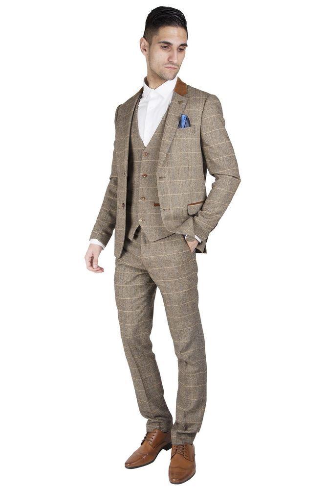fbb72c8bf742 Mens Marc Darcy Designer Tan Brown Tweed Herringbone Check Vintage 3 Piece  Suit (eBay Link)