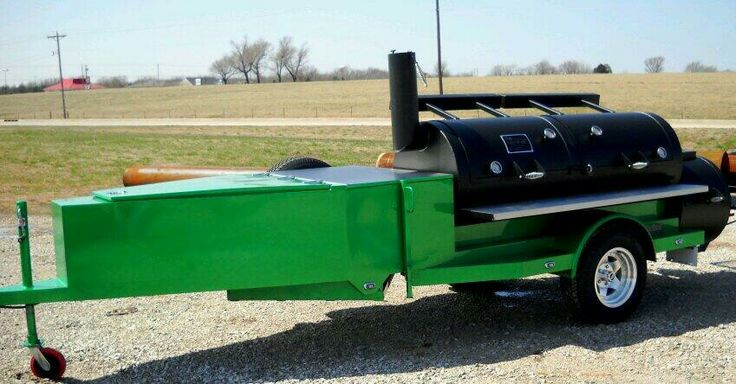 """Beautifully Custom Built 30"""" Horizon Trailer Smoker with Enclosed Storage in the front! Great for Cookoffs! #HorizonSmokers #BBQ #MIO #Catering"""