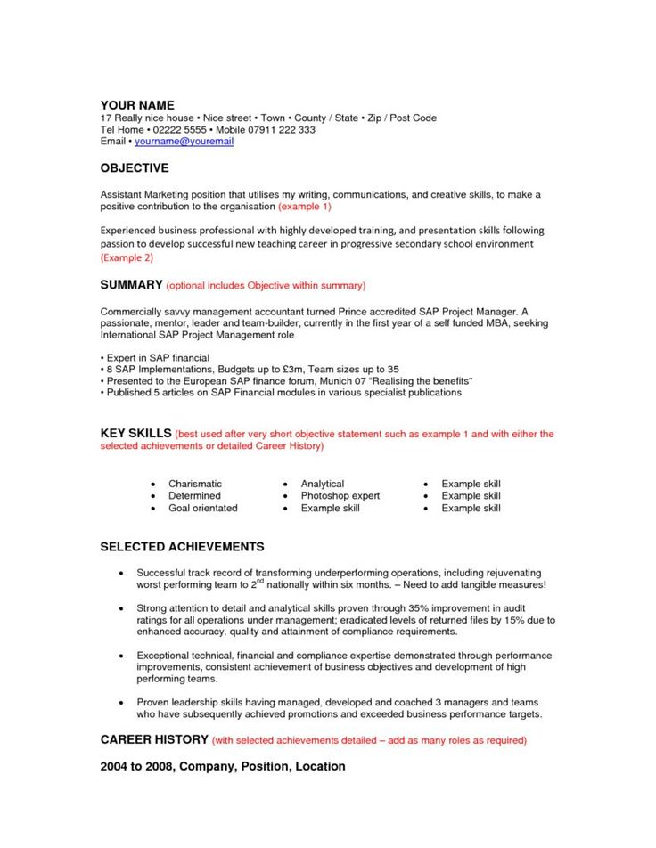 8 best cv images on Pinterest Sample resume, Cv format and - career change resume format