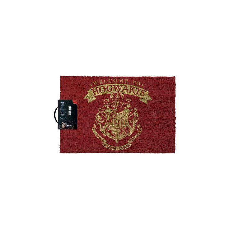 Harry Potter - Welcome To Hogwarts  - Doormat - Measurements approx. 40 x 60 cm - Materials: PVC and coconut fibre - Height: approx. 1.5 cm  Everyone should know that you're huge Harry Potter fan, let visitors know immediately with this cool 'Welcome To Hogwarts' doormat. The same quote and Hogwarts' emblem decorate the mat. Let's see which house the Sorting Hat puts you in!