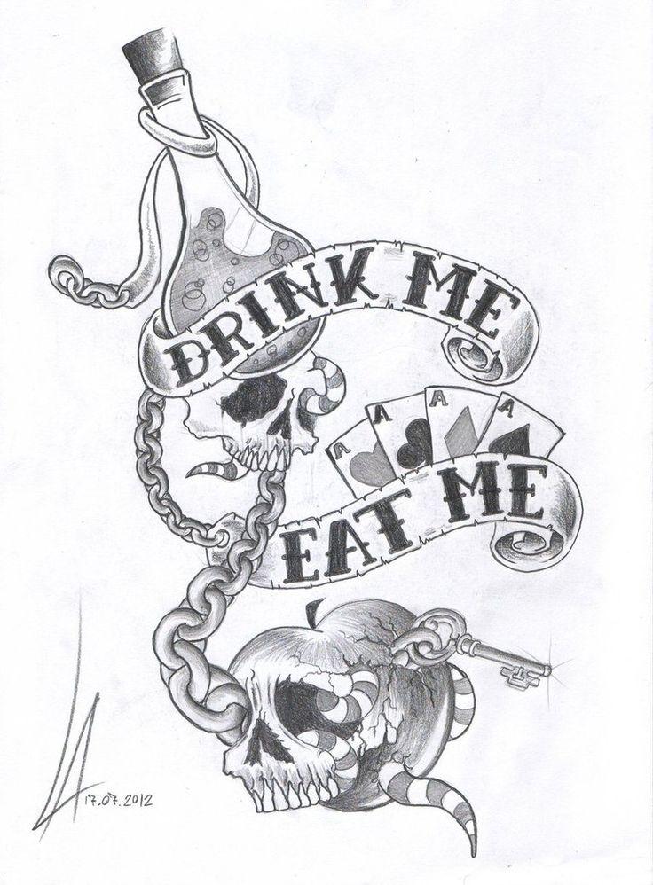 Alice Wonderland Cartoon Drink