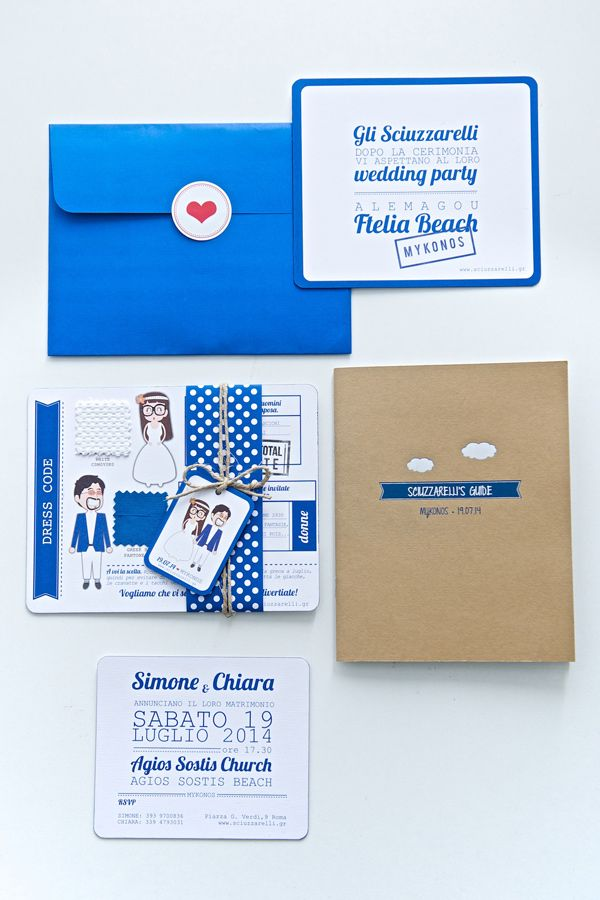 cobalt wedding invitations - photo by Rossini Photography http://ruffledblog.com/breezy-destination-wedding-in-mykonos