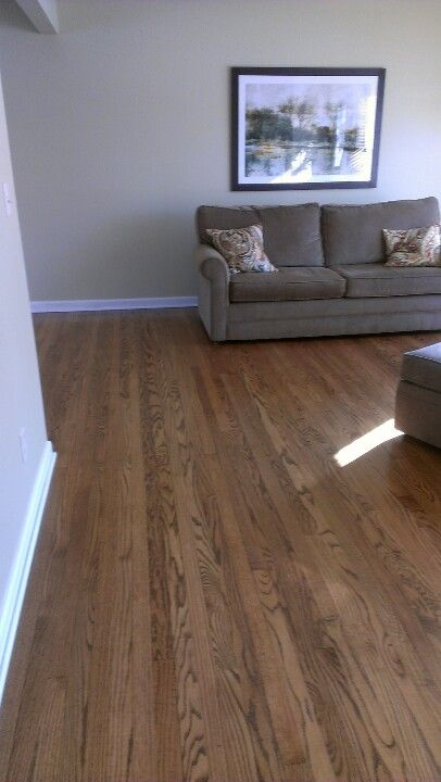 Original Red Oak Floors Stripped U0026 Stained Chestnut. House Was Built In  1957. Blond