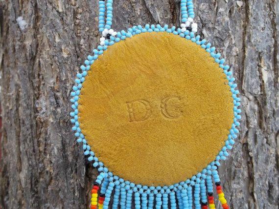Native american collier de tortue pow-wow perlage par deancouchie