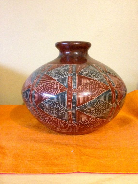 Nicaraguan Signed Traditional Etched Clay Pottery by outofdrawers, $51.00