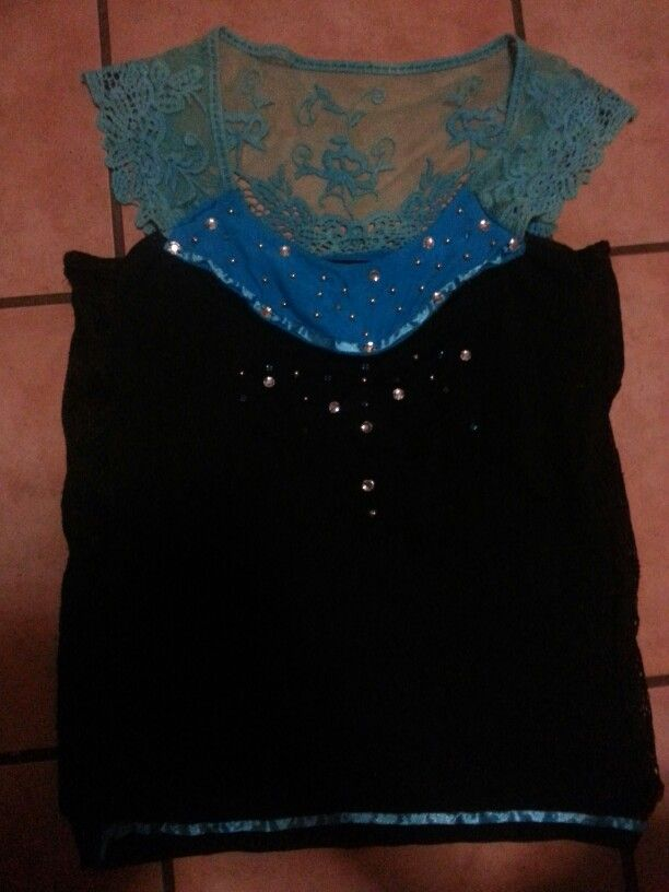 Self designed new lace back top... from old lace neckline and old black top!!! Very comfy and easy to make