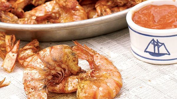 Grilled Old Bay Shrimp with Lemony Horseradish Cocktail Sauce - FineCooking