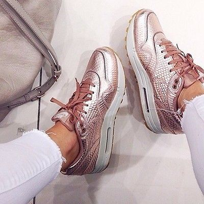 Nike Air Max 1 Rose Gold Metallic Bronze Cut Out Trainers
