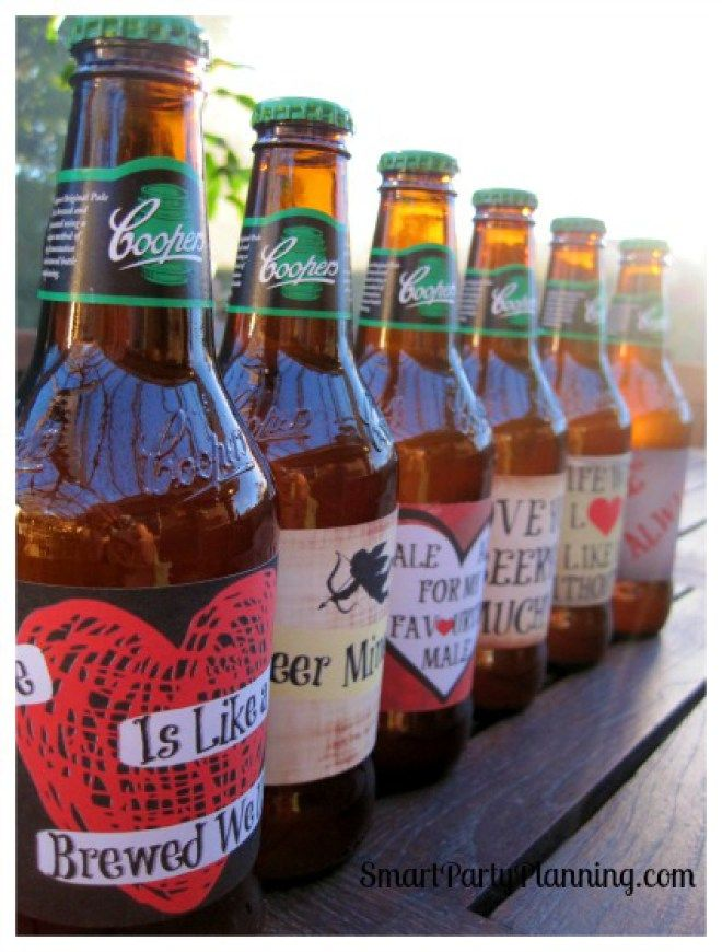 Row Of Valentine Beer Labels On A Table