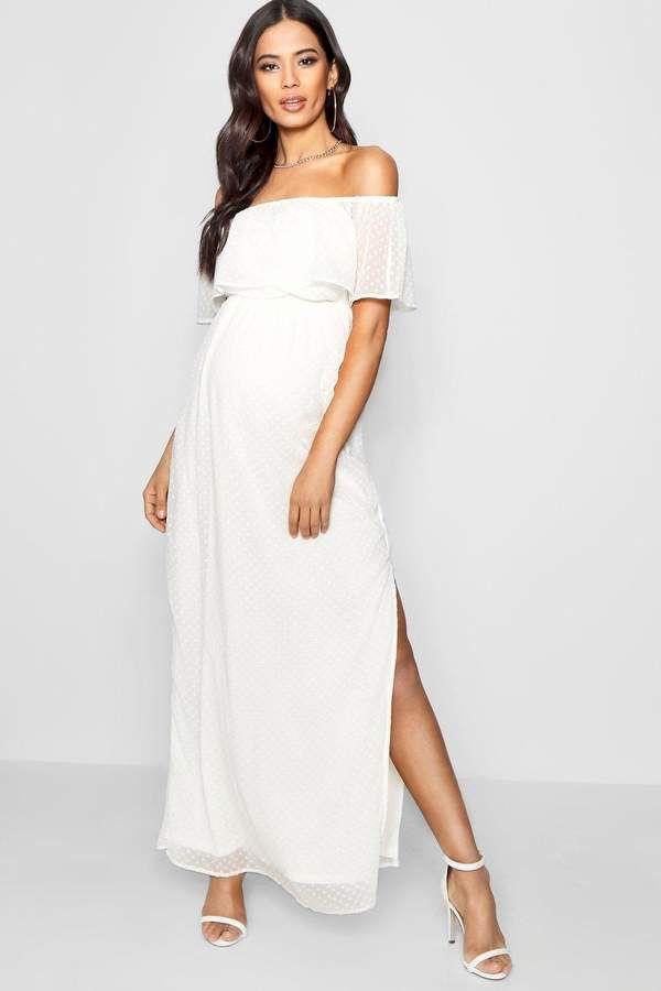 3d4761ad9e55 Maternity Off Shoulder Dobby Spot Maxi Dress in 2019 | Fashion ...