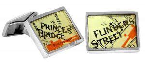 Flinders Princess vintage street directory cufflinks in sterling silver - $150