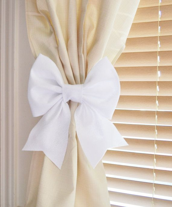 TWO WHITE BOW Curtain Tie Backs. Decorative Tiebacks Curtain Holdback -Drapery Tieback- Baby Nursery Decor. Cottage Chic. on Etsy, $36.00