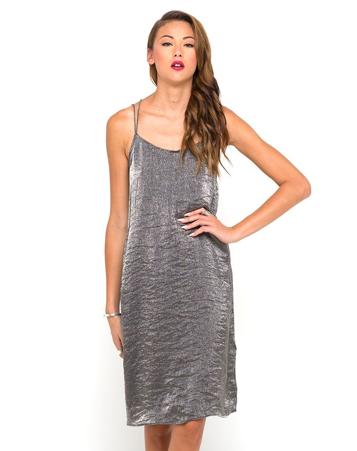 Motel Petra Midi Slip Dress in Black Metallic, TopShop, ASOS, House of Fraser, Nasty gal
