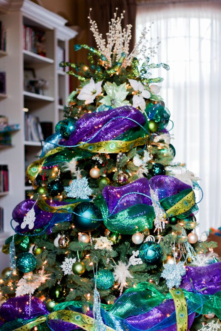 Christmas tree decorations purple silver - Blue Purple Silver White Christmas Tree Designer Christmas Tree How To