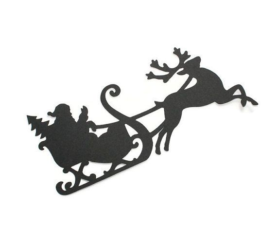 Santa Claus with reindeer silhouette die cuts - you choose your colors and size (C70)