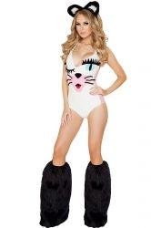 White Womens Sexy Cute Cat Halloween Costume
