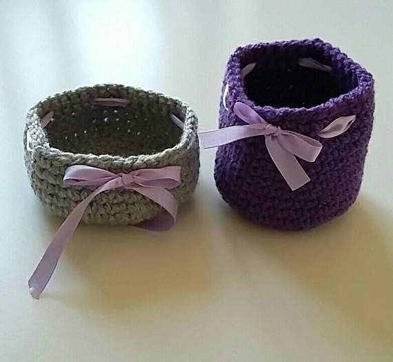 Set of two crochet baskets/ grey&purple/storage baskets/home