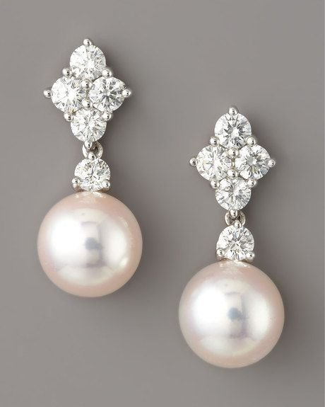 Mikimoto White Diamond & Pearl Drop Earrings