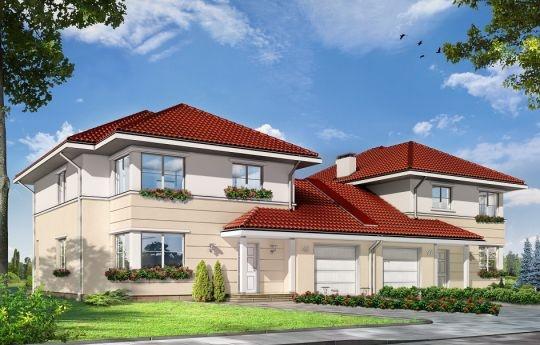 Projekt Ametyst 2 to dom w zabudowie bliźniaczej dla dwóch cztero-sześcioosobowych rodzin. Piętrowy Budynek przykryty wielospadowym dachem. Zwarta, prosta w budowie bryła, złożona z dwóch piętrowych połówek i parterowego łącznika garaży, została urozmaicona fragmentami ścian z boniowaniem, oraz dwoma podcieniami. Subtelne elementy dekoracyjne dodają domowi dyskretnej elegancji.