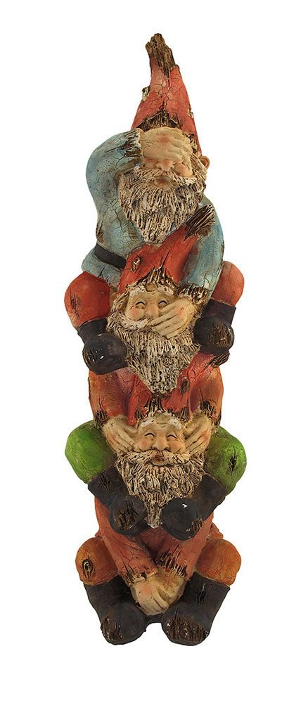 See, Speak, Hear No Evil Garden Gnome Tower Statue 16 In.