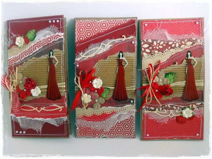 Handmade quilted card collection in red - made by me! www. szivtolszivig.blogspot.com
