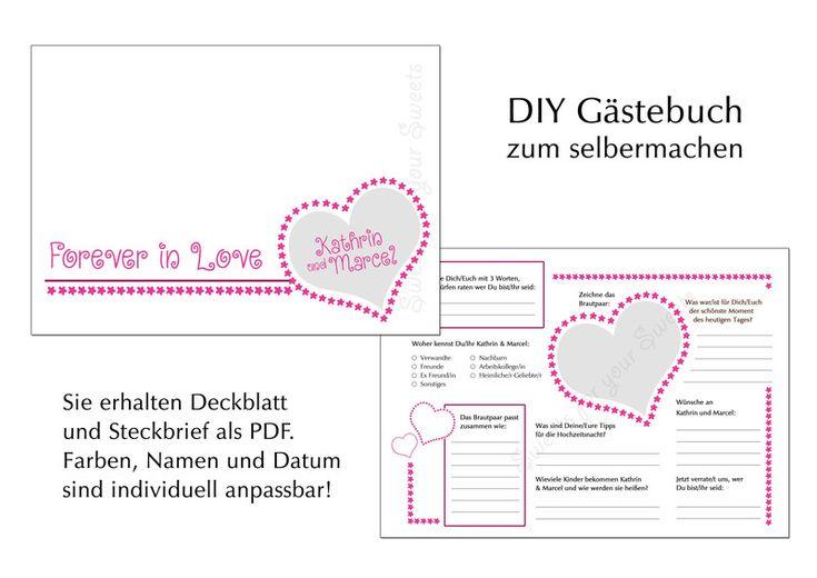 DIY Gästebuch Steckbrief - 2 PDF Vorlagen von Sweets for your Sweets auf DaWanda.com
