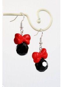 Zwarte oorbellen met rode strik